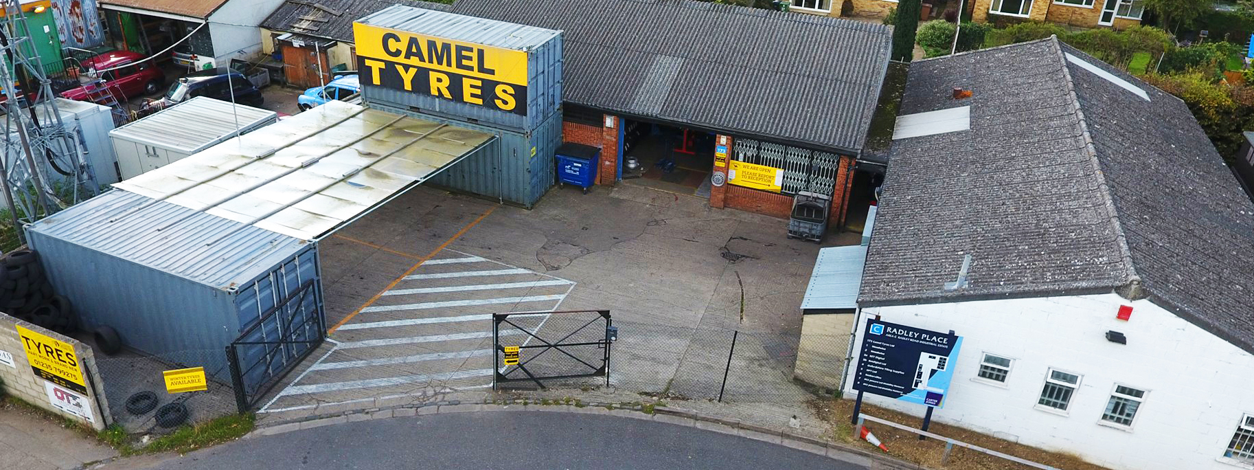 Overhead view of Camel Tyres in Abingdon, Oxfordshire - New Tyres Abingdon - Order Tyres Online